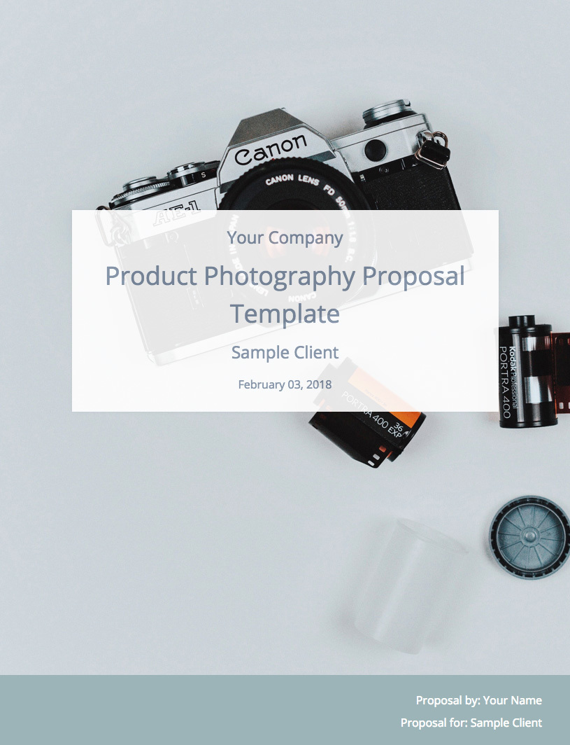 Product Photography Proposal Template Cover Image